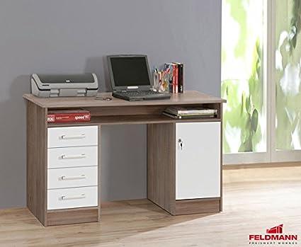 Schreibtisch 62033 PC Tisch sonoma eiche grau uni weiss N