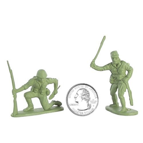 WWII - Japanese Infantry Plastic Army Men: 38 piece set of 54mm Soldier Figures with Accessories - 1:32 Scale by Hing Fat