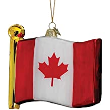 Kurt Adler 4-1/2-Inch Noble Gems Flag Of Canada Ornament By Noble Gems