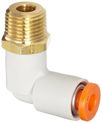 SMC KQ2L Push-to-Connect Tube Fitting, 90 Degree Elbow, PBT & Brass Body, Tube OD x NPT Male, Inch