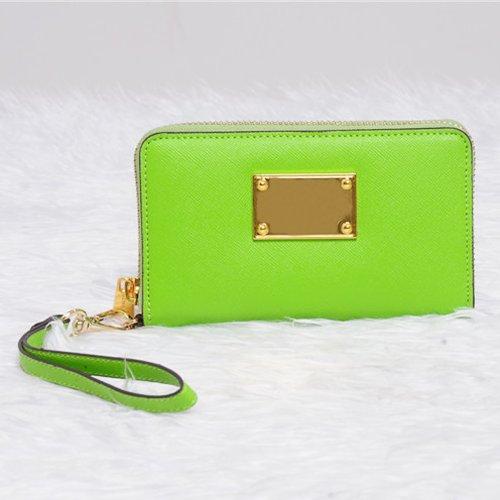 Exclusive Wallet Zip Wristlet Case For Iphone 5S, 5C, 5, 4S & Green