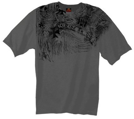 Hot Leathers Distressed Skeleton Eagle Biker T-Shirt (Charcoal, Large)