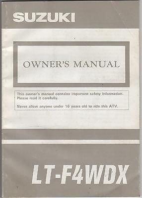 1993 Suzuki Atv 4 Wheeler Lt-F4Wdx P/N 99011-19B36-03A Owners Manual (570)