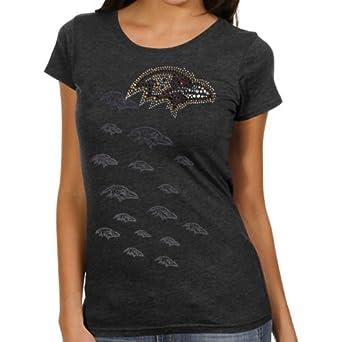 Baltimore Raven Women Rhinestone Tee S