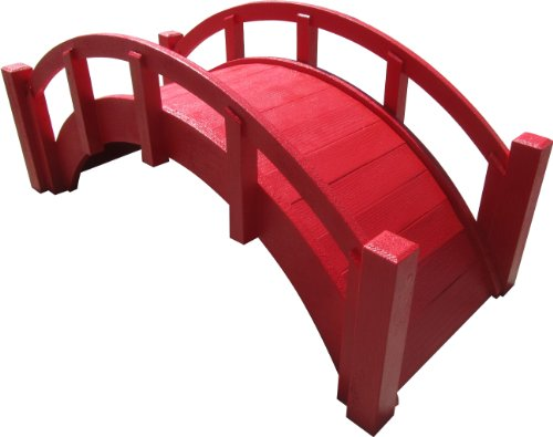 SamsGazebos Miniature Japanese Wood Garden Bridge, Red, Assembled, 25