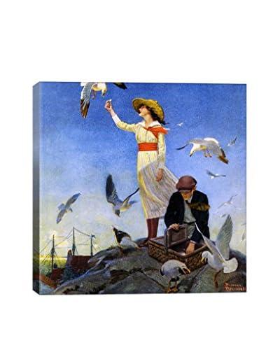 Norman Rockwell Picnic on a Rocky Coast Giclée Print