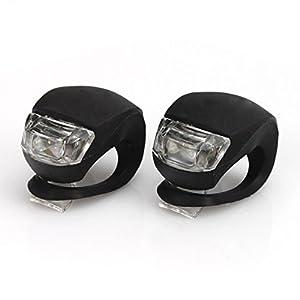 A-szcxtop(TM) 2Pcs LED Silicone Mountain Bike Bicycle Front Rear Lights - Black