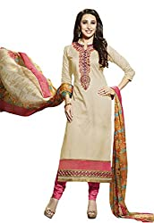 Sree Impex Women Heavy Cotton Semi Stitched Dress Material (SI-SK-48_Beige_Free Size)