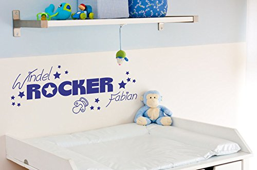 wandtattoo babyzimmer windelrocker mit wunschname 1 tattoo mit wunschtext kinderzimmer aufkleber. Black Bedroom Furniture Sets. Home Design Ideas
