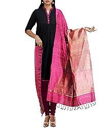 Unnati Silks Women Pink Pure Handloom Ghicha Tussar Silk dupatta