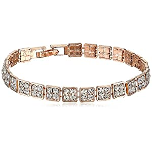 Rose Gold-Tone Square Faceted Clear Crystal Bracelet, 7