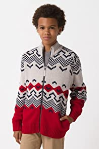 Boy's Long Sleeve Jacquard Full Zip Sweater