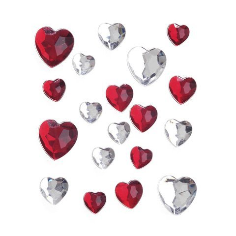 Stick-On Assorted Heart-shaped Rhinestones, Red and Crystal AB
