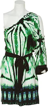 RAMPAGE Open One-Shoulder Printed Tunic W/ Belt [42074240103], GREEN/BLACK, SMALL