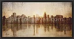 38in x 20in Skyline by Amori - Black Floater Framed Canvas w/ BRUSHSTROKES