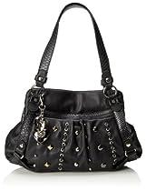 KATHY Van Zeeland Studs and Loops Top Handle Bag,Black,One Size