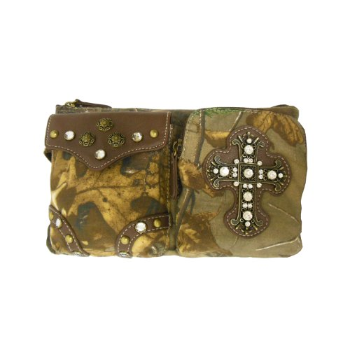 Brown Camo Bling Cross Fashion Fanny Pack for Women Fits up to 43 inch Waist