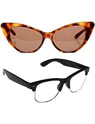 New Stylish UV Protected Combo Pack Of Sunglasses For Women / Girl ( BrownCateye-ClearHFWayfarer ) ( CM-SUN-043 )
