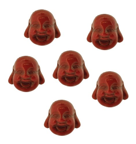 Dyed Howlite Red Happy Buddha Beads, Laugh Buddha