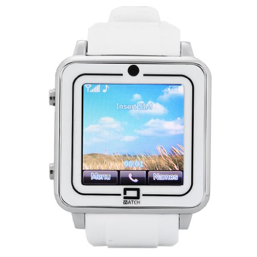 Excelvan® 2014New Dual Bluetooth Anti-Loss Phone Watch Qvga Hd Portable Smartwatch Gsm Fm For Samsung Htc Android/Iphone Gift Watch (White)