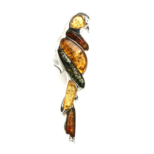 Multicolor Amber Sterling Silver Little Museum Collection Parrot Pin 19th Century