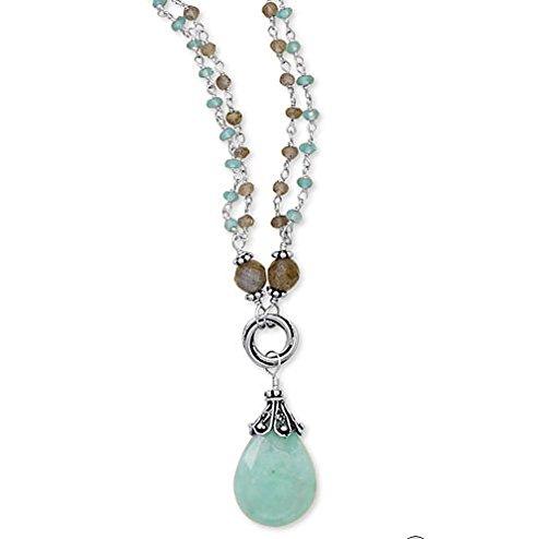 "Clevereve 2014 Designer Series Sterling Silver Double Strand Multi-Stone Baila Luna Mint Chocolate Pendant Necklace 19"" + 2"" Ext. W/ Labradorite, Apatite & Amazonite"