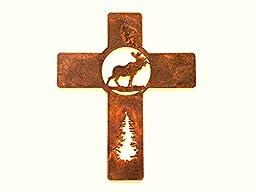 Cross Metal Rustic Metal Moose 10\