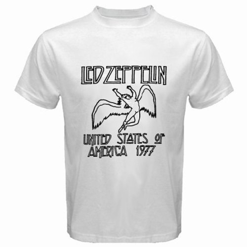 Led Zeppelin Concert Tour 1977 Legend Rock Band Mens White T-Shirt Size Xl