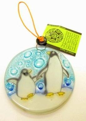 Quality Fused Glass Ornament Suncatcher with cute Penguins
