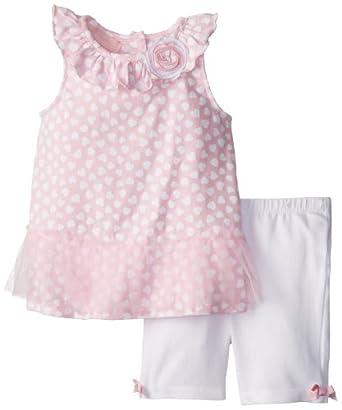 Kids Headquarters Little Girls' Printed Tutu Short Set, Pink/White, 3T