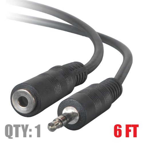"3.5 Mm (1/8"") Stereo Cable Male To Female 6 Feet - Extends Speakers Or Headphones"