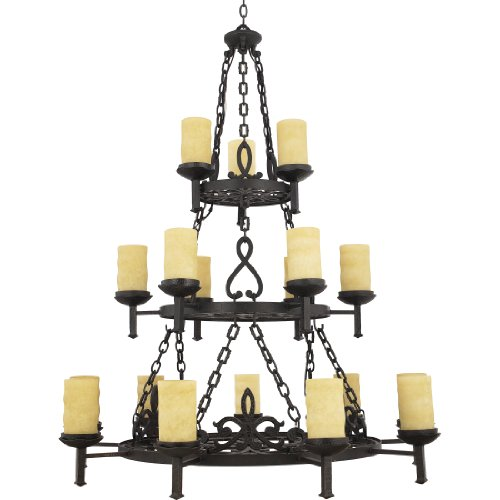 Quoizel LP5018IB La Parra 18-Light Chandelier with Candella Scavo Glass Shades, Imperial Bronze