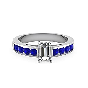 1 Carat Emerald Cut Diamond & Blue Sapphire Gemstone Engagement Ring 14K Gold GIA (G Color, VS2 Clarity)