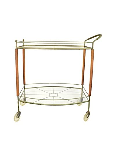 Uptown Down Vintage Glass & Brass Bar Cart, Gold/Natural