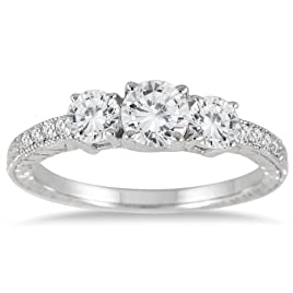 1 1/10 Carat Diamond Three Stone Ring in 14K White Gold