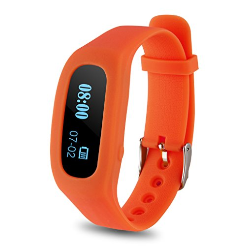 Excelvan OLED Smart Healthy Sport Bracelet Bluetooth V4.0 Wristband with Pedometer/Tracking Calorie/Remote Capture/Sleep Monitoring / Compatible with Android and IOS (Orange)