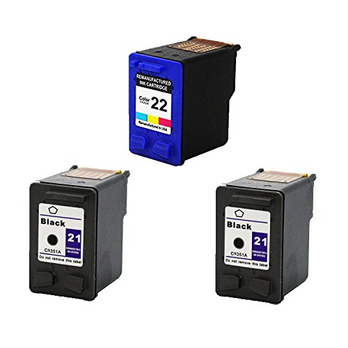 Remanufactured Ink Cartridge Replacement for 2 x HP 21 + HP 22 (1 Color 2 Blakc 3 Pack)