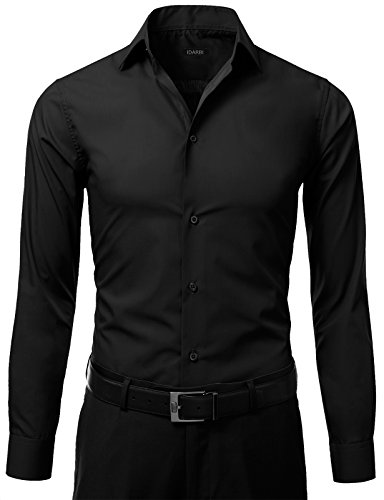 IDARBI Men's Slim Fit Color Longsleeve Dress Shirt BLACK 16/16.5N36/37S