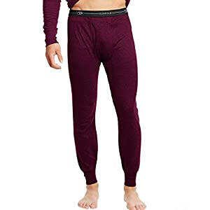 Duofold KMW2 Men's Mid Weight Wicking Thermal Pant - Bordeaux Red - Large