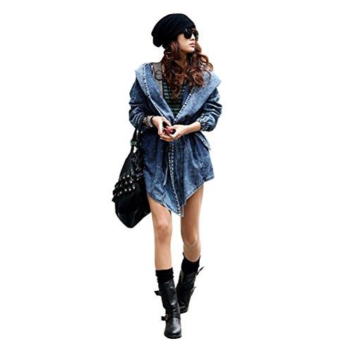 Cappotto Invernale Donna Parka - Chicone Giubbotto di Jeans con Felpa con Cappuccio Cardigan Capispalla Demin Trench Jacket Oversized