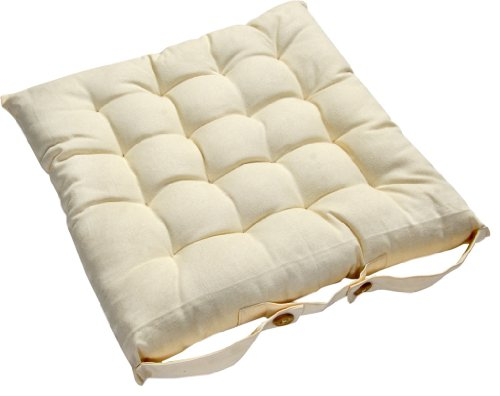 Homescapes - Seat Pad - Cream - 40 x 40 cm - Chair Cushion with a Button Tie Handle to fix to Chair - 100% Cotton - Well Filled - Easy Care - Washable At Home