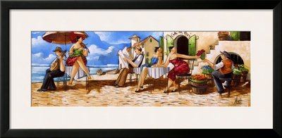 Thursday Morning At Cafe Da Vinci Framed Art Poster Print By Ronald West, 38X19 back-1049634