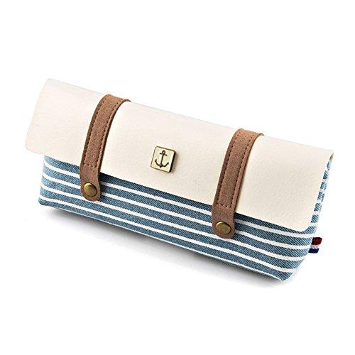 Stripe Pattern Retro penna matita Pouch Bag Astuccio Cosmetici Borsa per studenti ragazzi ragazze blu