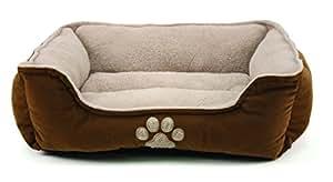 Brinkmann Pet Products Corduroy Paw Print Pet Bed, 25-Inch, Tan