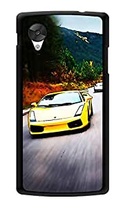 """Humor Gang Yellow Sports Car Printed Designer Mobile Back Cover For """"Lg Google Nexus 5"""" (3D, Glossy, Premium Quality Snap On Case)"""