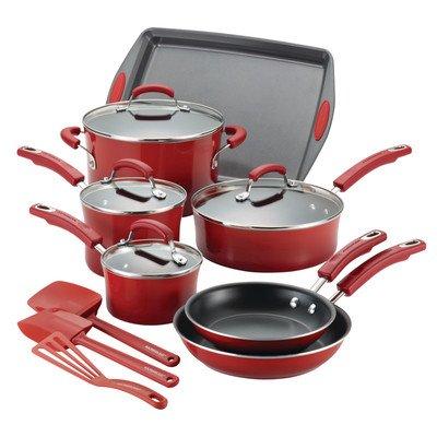 Rachael Ray Hard Porcelain Enamel Nonstick Cookware Set, 14-Piece, Fennel Gradient (Rachael Ray Pots And Pans Set compare prices)