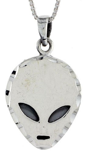 Sterling Silver Alien Pendant, 7/8 in. (23mm) tall