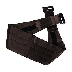 DIB7E01E Dark Brown Solid Woven Microfiber Whole Sale Gift Mens Cummerbund 1 Pack By Dan Smith