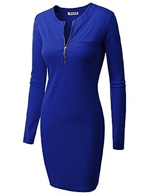 Doublju Womens Longsleeve Casual Rib Cotton Knit Zip-Up Pocket Front Dress