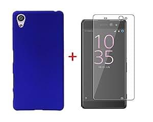 YuniKase (COMBO OFFER) For Sony Xperia XA Hard matte Finish Back Cover + Premium Tempered Glass Screen Pretector - (Blue, Transperent)
